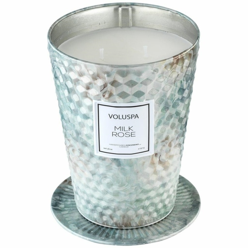 VOLUSPA candle MILK ROSE GIANT 737G - coconut wax, two wicks