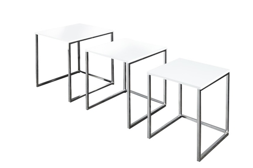TRIO SLIM table set white - chrome base