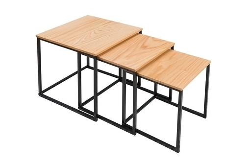 A set of tables TRIO SLIM oak - black base