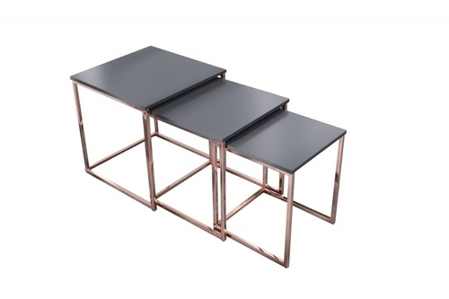TRIO SLIM table set made of copper - copper base
