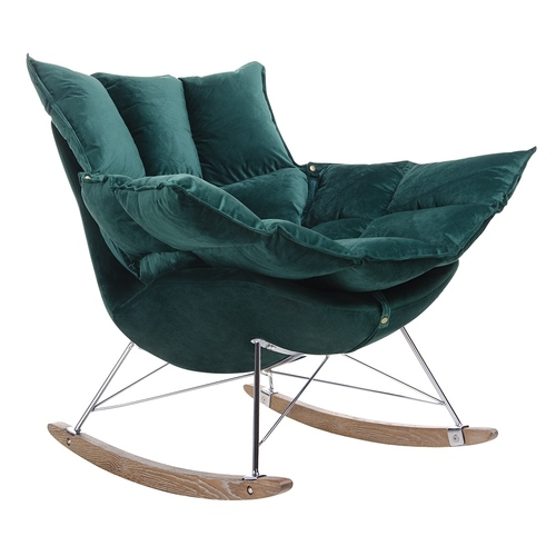 Rocking chair SWING VELVET dark green - velor, chrome steel, oak wood