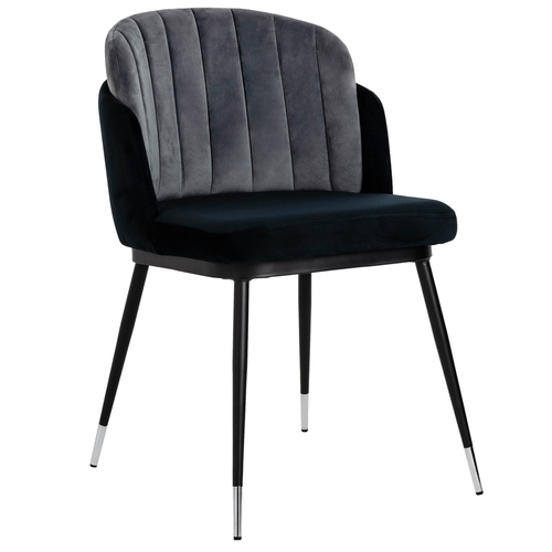 MARCEL black and gray chair - velor, black and silver base