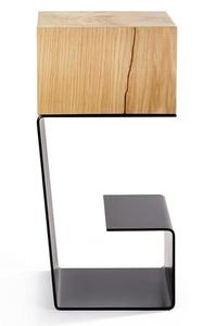Black EGON table - oak top, metal base small 2