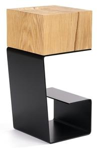 Black EGON table - oak top, metal base small 3