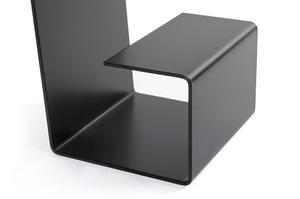 Black EGON table - oak top, metal base small 5