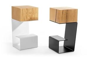 Black EGON table - oak top, metal base small 8