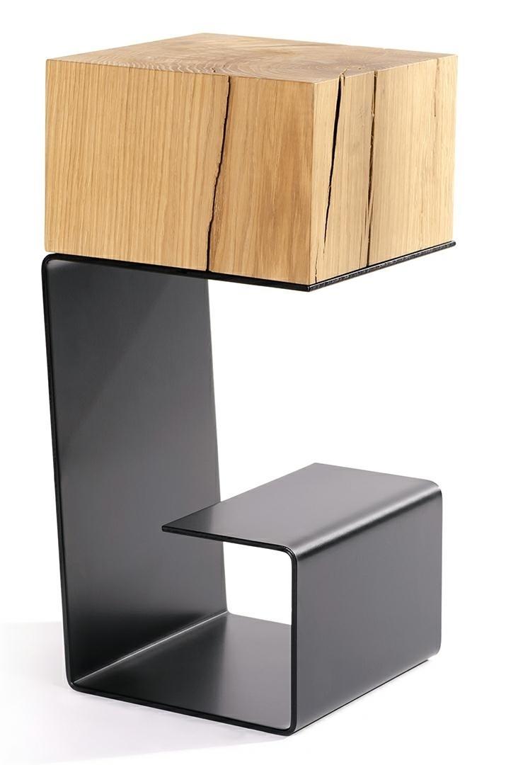 Black EGON table - oak top, metal base