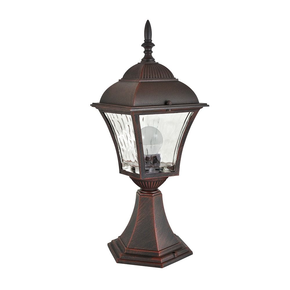 Standing garden lamp with stained glass (34 cm) - PARIS 2 (2in1 LED bulb included)