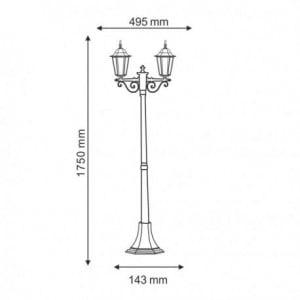 Garden lantern standing Odessa 2 Alu + 2 bulbs 175cm small 1