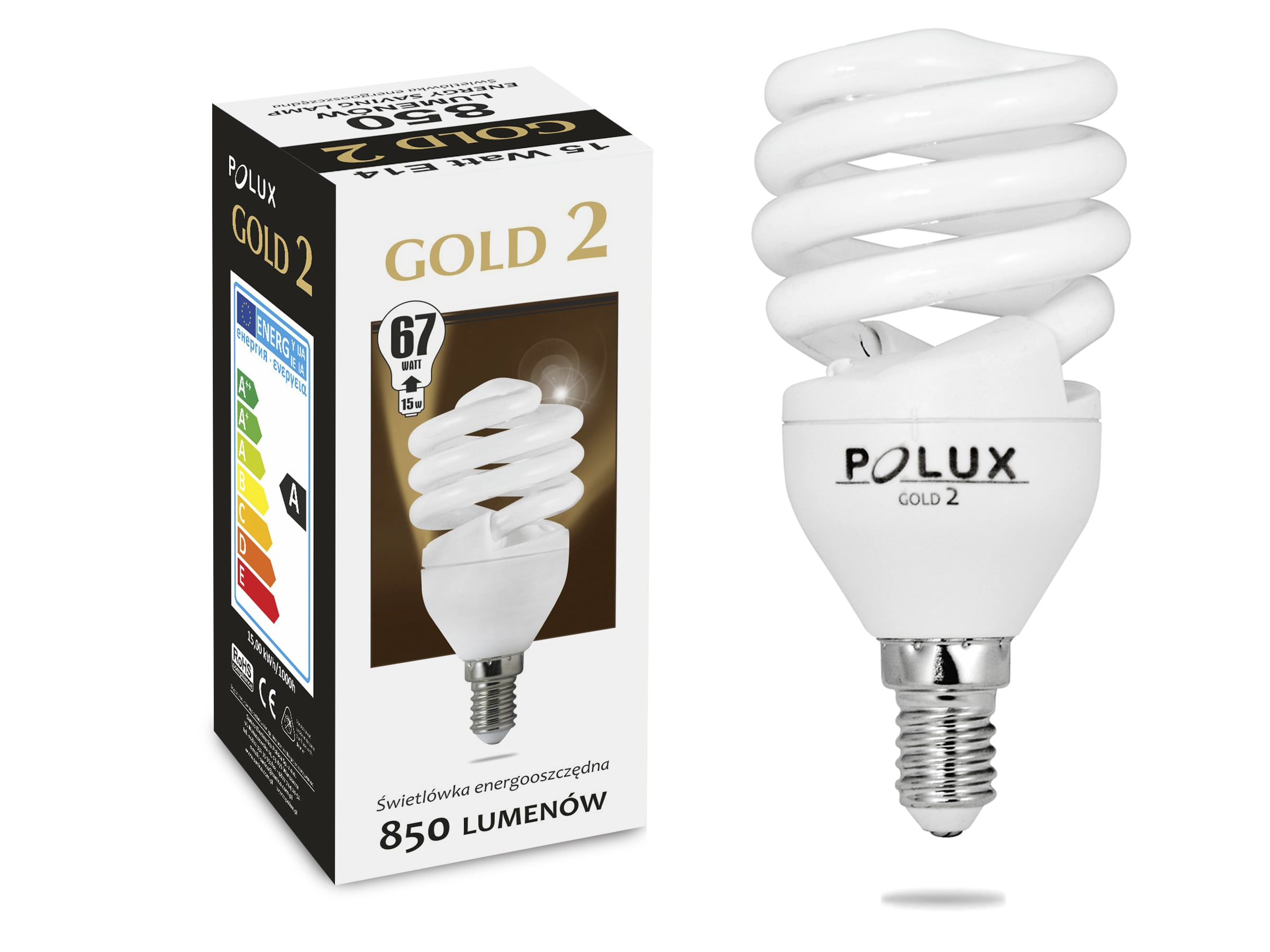 Energy saving light bulb POLUX GOLD2 mini 15W 850lm E14 2700K