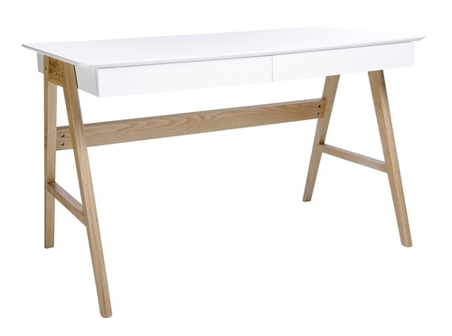 RIVA desk (Scandic) white - MDF top, oak base