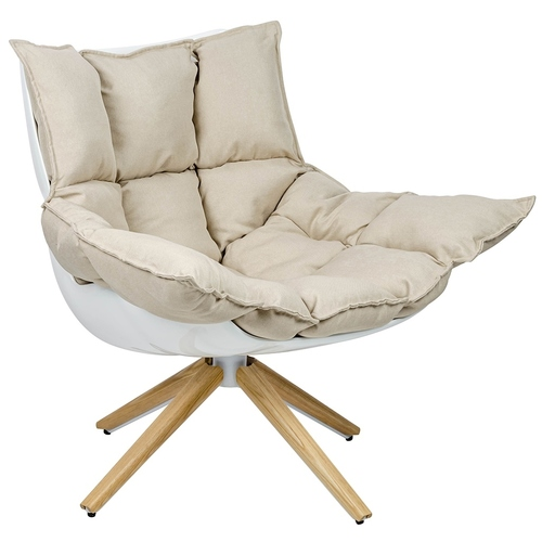 STAR gray armchair - gray fabric, wooden base
