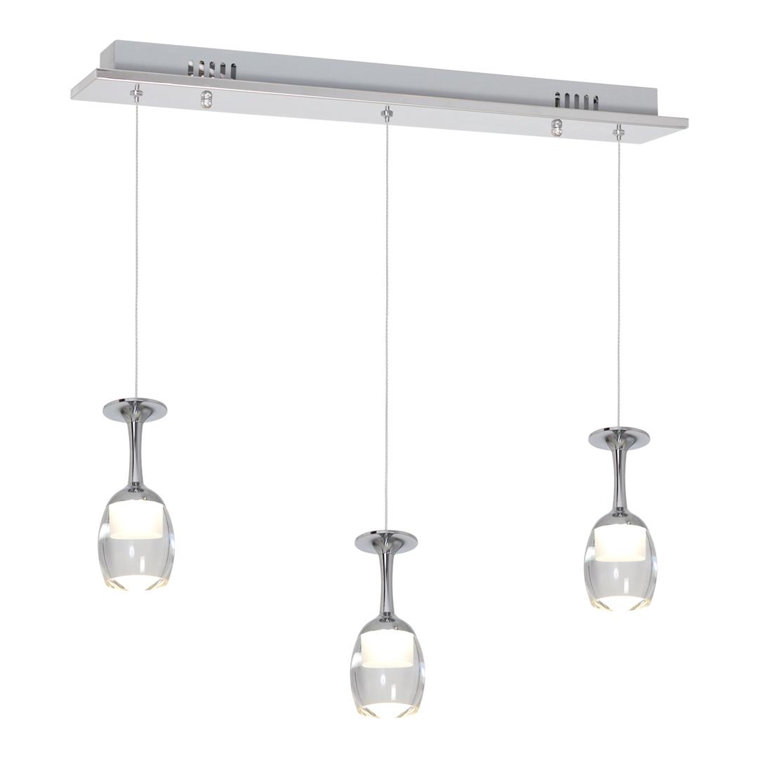 Chrome Pendant Lamp Coppa 3x5 W Led
