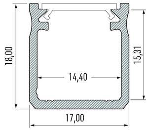 Black aluminum profile, type Y 1m + opal diffuser small 1