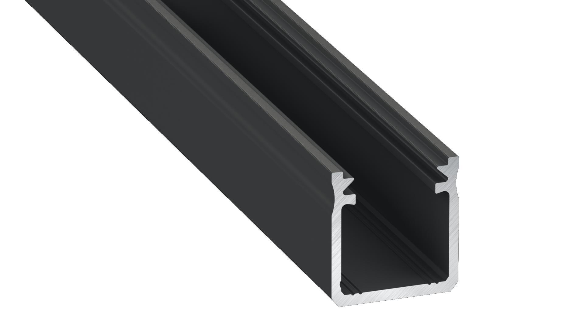 Black aluminum profile, type Y 1m + opal diffuser