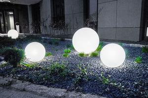 Set of three external lamps, garden balls Luna ball 30 cm, 40 cm, 50 cm, luminous garden balls, classic, white small 4