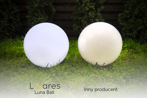 Set of three external lamps, garden balls Luna ball 30 cm, 40 cm, 50 cm, luminous garden balls, classic, white small 3